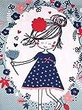 Panel Jersey Stoff Mädchen Blumen Mint Kinderstoff