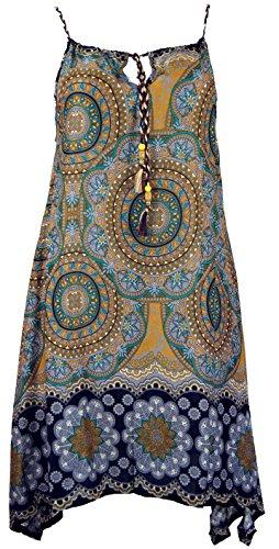 Guru-Shop Boho Dashiki Midikleid, Trägerkleid, Strandkleid für Starke Frauen, Damen, Goldgelb, Synthetisch, Size:One Size, Lange & Midi-Kleider Alternative Bekleidung