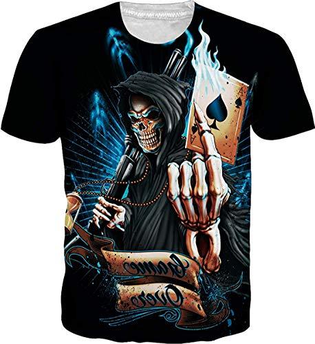 JOOCAR Unisex 3D Printed Cool Skull Grim Reaper Poker Skeleton Black Shirts Summer Fashion Graphic T-Shirts Short Sleeve Breathable Streetwear