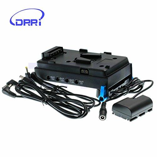 DRRI LP-E6 - Batteria fittizia con supporto a V HDMI per batteria con morsetto da 15 mm per DLSR 5D2 5D3 7D 6D 60D (piastra V-Mount Plate)