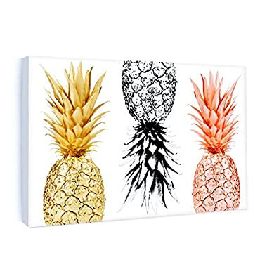 Framed Canvas Painting Pineapples Prints Home Wall Art Decor Fruit Picture Poster Office Kitchen Decoration 10 x 16in