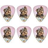 Yorkie Yorkshire Terrier - Juego de 6 palillos para guitarra, diseño de perro caramelo, huevos de Pascua