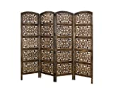 COTTON CRAFT Rajasthan Antique Brown 4 Panel Handcrafted Wood Room Divider Screen 72x80 Intricately Carved on Both Sides Reversible-Hides Clutter,Adds Décor,& Divides The Room Antique Brown Rajasthan