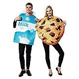 Stampa realistica delicata - Doppia scatola di latte reale e costume biscotti per adulti. Uno è una scatola di latte blu e l'altro è un biscotto con gocce di cioccolato. Morbido dorso per abbigliamento comodo - Morbido dorso in tessuto per farti sent...