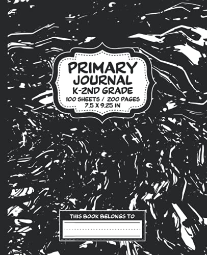 Black Marble Primary Journal Composition Notebook (200 pages): Grades K-2 Kindergarten Creative Story Tablet Writing Journal For Handwriting Practice and Drawing