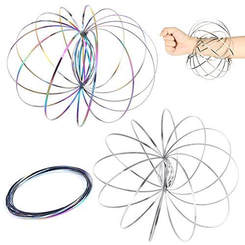 REYOK 2 Stück Flow Ring,Ring Regenbogen- Wunderbares Magisches Spielzeug - 3D ARM Slinky - Wissenschaft, Zirkus, Magic Anti Stress Toy für Erwachsene Kinder(Silber + Farbe)