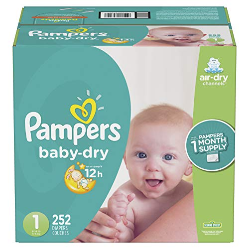 Price comparison product image Diapers Newborn / Size 1 (8-14 lb),  252 Count - Pampers Baby Dry Disposable Baby Diapers,  ONE MONTH SUPPLY