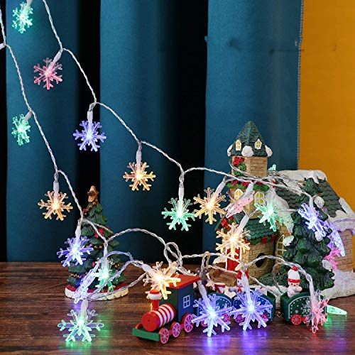 wandor 19.6 ft 40 LEDs Battery Powered Snowflake String Lights, Use for Indoor Outdoor Christmas Wedding Birthday Valentine's Day Holiday Party (Multicolor)