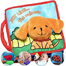 Premium Soft Baby Book First Year, Cloth Book Bunny with Crinkly Sounds, Fun Interactive Toy, Fabric Book for Babies & Infant 1 Year Old (Boy, Girl), Cute, Touch and Feel Activity (Blue)