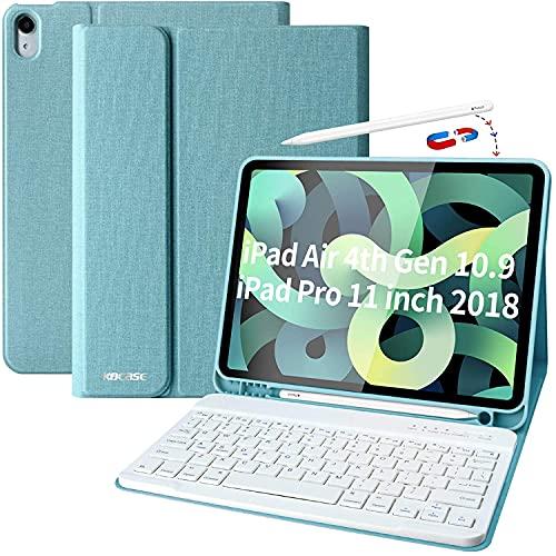 Funda Teclado iPad 10.9, Funda iPad 2020 con Ranura para Lápiz y Español (Incluye Letra Ñ) Teclado Bluetooth Inalámbrico Desmontable para iPad Air 10.9/iPad Pro 11 2018- Cubierta Magnética Delgada