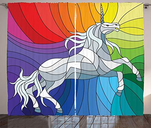 ABAKUHAUS Unicornio Cortinas, Caballo Mosaico de Arco Iris, Sala de Estar Dormitorio Cortinas Ventana Set de Dos Paños, 280 x 225 cm, Multicolor