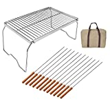 RUBY-Q Folding Campfire Grill, Portable and Heavy Duty 304 Stainless Steel Camp Grill Grate with Carrying Case and 12 Kabob Skewers, Over Fire Camping Grill for Outside Picnic BBQ