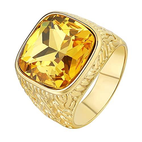 HIJONES Sencillo Clásico Lujo Cuadrado Amarillo Piedras Anillo Oro para Hombres Acero Inoxidable Boda Joyas Talla 15