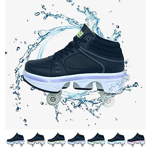 GGOODD Zapatos de Polea Invisible Patines Zapatos de Parkour 2 en 1 / Zapatos de Patinaje sobre Ruedas en Línea Zapatos de Patinaje Zapatillas de Deporte de Recreación con Luz LED de 7 Colores,41