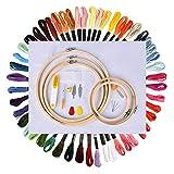 Hisome Kit de iniciación de bordado, kit de herramientas de punto de cruz con 5 aros de bambú bordados, 50 hilos de color, 14 unidades de reserva clásica Aida y agujas para adultos y niños