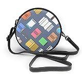 Creative Book and Mobile Phone - Bolso bandolera de piel sintética con cremallera para mujer, diseño de libro y teléfono móvil