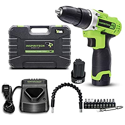 Inspiritech Cordless Drill/Driver with 2 Lithium Ion Batteries and Charger,Variable Speed 3/8Inch Keyless Chuck 16 Position Clutch, Front LED Light,12 Accessories ...