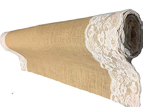 AAYU Premium Burlap Outdoor Wedding Aisle Runner with 5' Wide Ivory lace Attached Edges,40 Inch Wide 100 feet Long (40 Inch X 100 Feet)