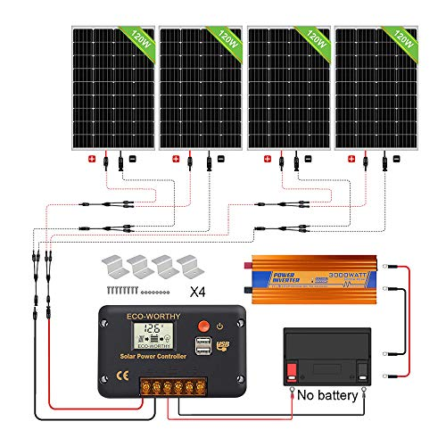 ECO-WORTHY 480W Off Grid Solarmodul Kit: 3000W 12V Wechselrichter + 4 PCS 120W Solarpanel + 30A Batterieladeregler für Home Boot RV