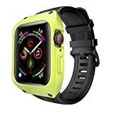 BIZZO ShockProof Protective Silicone Watch Band & Case Compatible For Apple iWatch Series 4 & 5 (Lime Green & Black, 40mm) - Sports/Tactical Applewatch Protector Bumper Cover