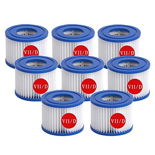 Cartucho de filtro tipo VII tipo D para piscinas, filtro de repuesto para Bestway VII y Intex D, bomba de cartuchos de filtro, filtro de piscina, apto para jacuzzi, spa y spa (8)
