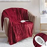 Degrees Of Comfort Electric Heated Throw Blanket Red 50 x 60 | Lap Blanket for Office Or Home | 3 Heat Settings W/ 2 Hour Auto Shut Off, UL Certified & Low EMF | Machine Washable