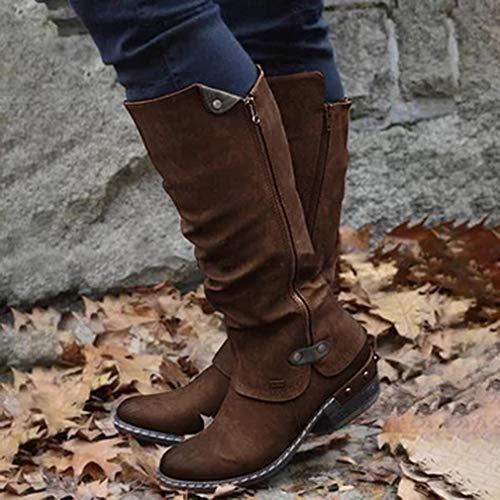 Kniehoge laarzen Cowboy knielaarzen Warm Zip Platform Lange laarzen Dames Vintage lage hak Dameslaarzen voor dames (bruin 38)