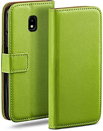 moex Klapphülle kompatibel mit Samsung Galaxy J5 (2017) Hülle klappbar, Handyhülle mit Kartenfach, 360 Grad Flip Hülle, Vegan Leder Handytasche, Grün