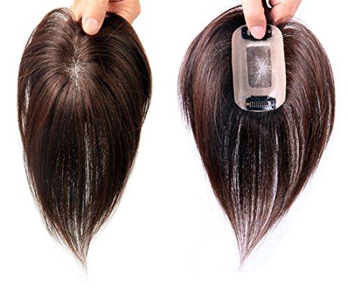 droites Cheveux humains pour main Tied Clip en Mono Cheveux Couronne Topper Postiche pour femme 15,2 cm Noir de jais