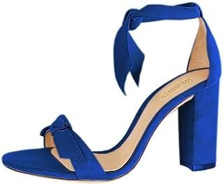 High-heeled sandals Women Open Toe Ankle Straps Sandals High Heels Summer Ladies Bridal Suede Thick Heel Pumps wedding shoes Dress Pump