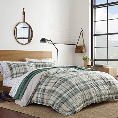 Eddie Bauer Home   Timbers Collection   100% Cotton Soft & Cozy Premium Quality Plaid Comforter with Matching Shams, 3-Piece Bedding Set, Queen, Green