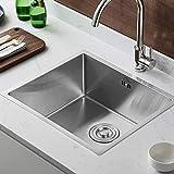 AuraLum Fregadero de cocina 50 × 43 × 21 cm, fregadero de acero inoxidable empotrable con sifón para cocina, lavabo cuadrado de acero inoxidable, grosor de la placa aprox. 4 mm (1 piscina).