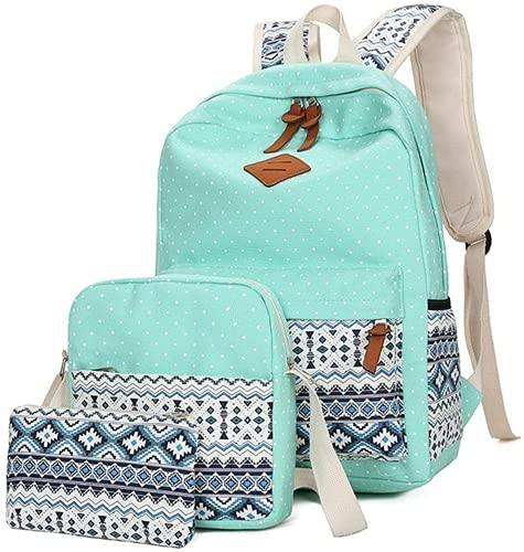 3pcs School Backpack Set Bohemian Book Bag Polka Dot Kawaii Daypack Girl Teen Student with Cute Cross Body Bag Pouch Boho Shoulder Tote Purse Pencil Case, Back to School Supply Outfit (Green)