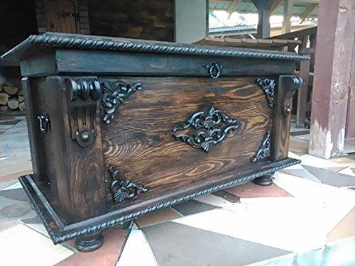 Boîte à couverture en bois table basse Trunk vintage Coffre en bois Ottoman Mdl1