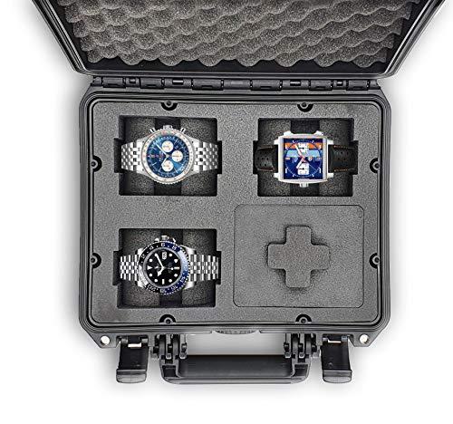 MC-CASES - Caja para Relojes con Espacio para 4 Piezas - Maletín de Viaje Impermeable y con un Cierre Seguro - Máxima protección - Fabricada en Alemania