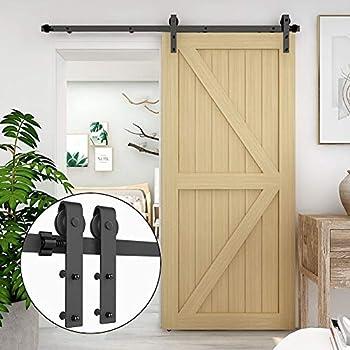 CCJH 4FT Sliding Barn Door Hardware Kit Heavy Duty for Single Wooden Door Max Fit 24   Wide Door Panel