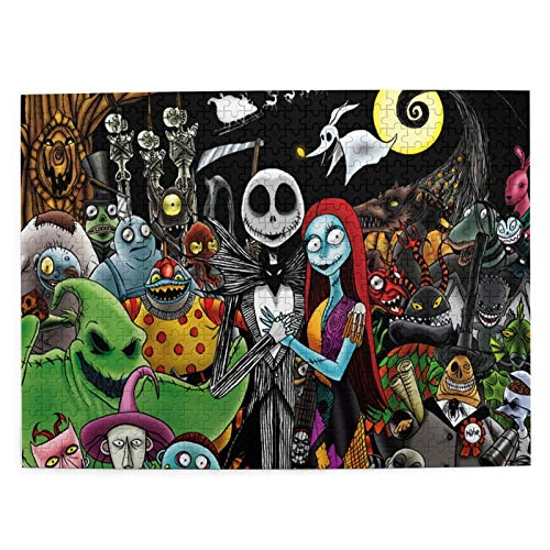 TAWOAO The Nightmare Before Christmas Collage Jigsaw Puzzle Wooden Puzzle Game Artwork 300/500/1000 Pieces for Adults Teens Kids Gifts Home Decorations