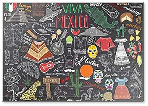 Messico disegnato a mano schizzo set illustrazioni lavagna frigorifero magnete