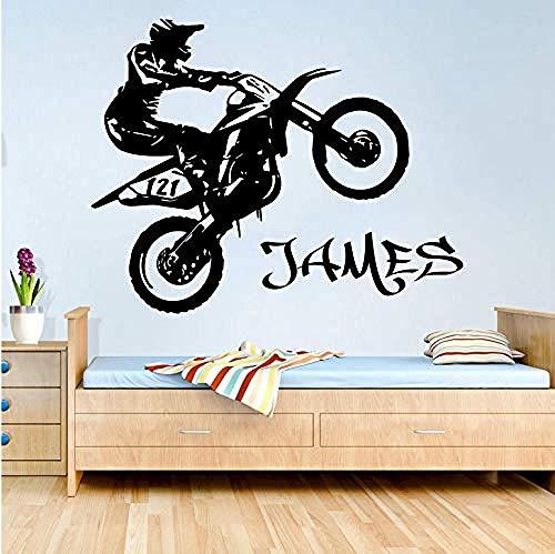 Etiqueta de la pared de la motocicleta habitación de los niños habitación de los niños nombre de la personalidad scooter motocicleta suciedad etiqueta de la pared dormitorio decoración de vinilo 56X44 cm