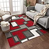 Uptown Squares Red & Grey Modern Geometric Comfy Casual Hand Carved Area Rug 5x7 ( 5'3' x 7'3' ) Easy to Clean Stain Fade Resistant Abstract Boxes Contemporary Thick Soft Plush Living Dining Room Rug