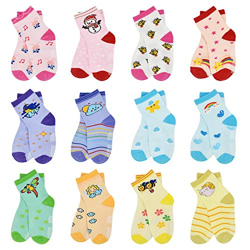 Toddler Non Slip Grip Baby Boy Socks - 12 Pairs Non Skid For Baby Infants...