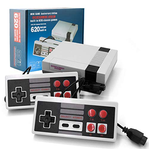 Classic Mini NES Retro Console, AV Output Game Console Built-in 620 Games with 2 Classic Controllers (Update Version)
