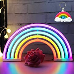 【SATISFACTION GUARANTEE】We provide 100% refund guarantee and if you are not satisfied with our rainbow neon light, we will provide full refund or free change.No risk purchase! Just make you order. 【OPTIONAL WAYS TO BE PLACED】Our rainbow neon light ca...
