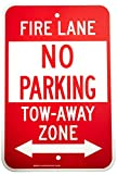 Brady 124345 Traffic Control Sign, Legend'Fire Lane No Parking Tow-Away Zone', 18' Height, 12' Width, Red on White