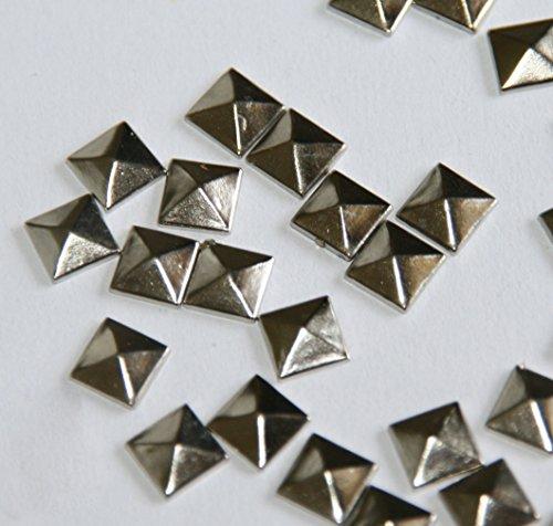 Gesh 100 tachuelas de pirámide plateadas con parte trasera plana de 7 mm, 1/4 de pulgada, pegamento plano en tachuelas