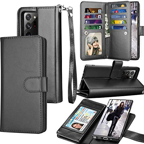 Galaxy Note 20 Ultra Hülle, Note 20 Ultra 5G Wallet Hülle, Luxus Kreditkartenfächer, Tragbares Flip PU Leder Cover [Abnehmbare magnetische Hartschale] für Samsung Galaxy Note 20 Ultra [Schwarz]
