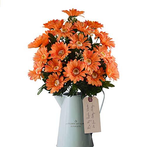 Rabbihom LARGE 70 × 45cm Lily crisantemo Flores artificiales Flores falsas Ramo de plástico realista Planta artificial Interior y exterior Jardín de casa Florero de boda Cementerio Decoración de pared