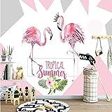 Papel Pintado,Papel Pintado Murales 4D Personalizado,Cómic Crown Flamingo Tv Sofá De Fondo La Pintura De La Pared De Seda Gran Wall Papers Hd Arte Imprimir Cartel De Salón Dormitorio Decoracion