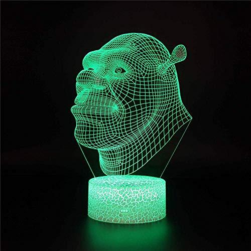 Shrek - Lámpara de noche 3D, regalo de Navidad, lámpara de noche para niños, 16 colores, cambiante, lámpara de escritorio para niños, Navidad, cumpleaños, decoración del hogar