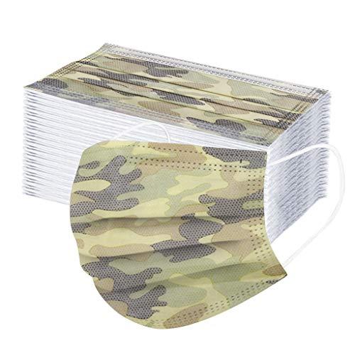 50 Stück Kinder Mundschutz Einweg 3-lagig Atmungsaktiv Face Cover Anti-Staub Bandana Loop Cartoon Druck Face Shield für Jungen und Mädchen (A)